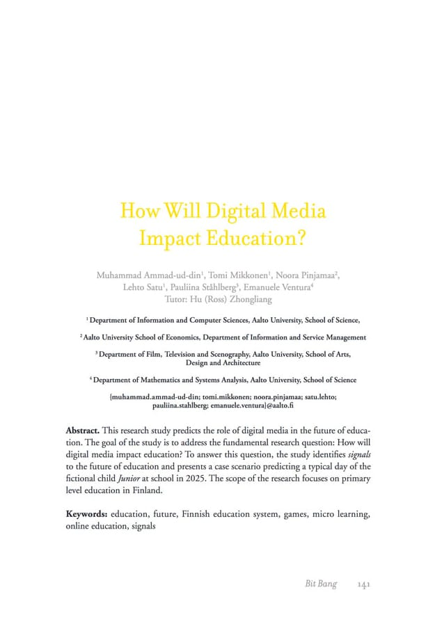 Research: How Will Digital Media Impact Education?