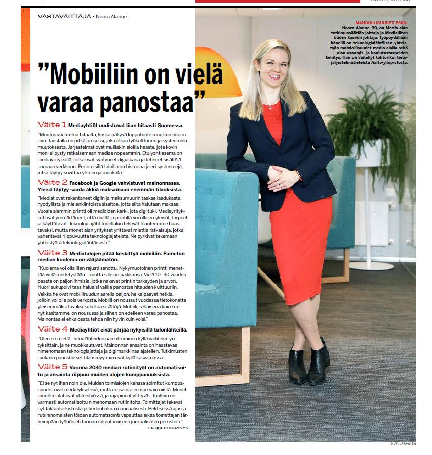 Vastaväittäjä Noora Alanne: Mobiiliin on vielä varaa panostaa (Markkinointi & Mainonta 16.11.2018)